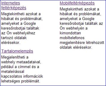 Google Webmaster Tools - Diagnosztika
