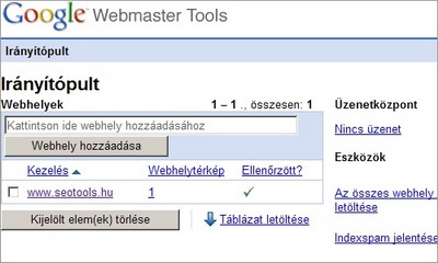 Google Webmaster Tools irányítópult