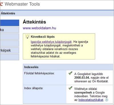 Weboldal hozzáadása a Google Webmester eszközökhöz