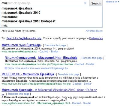 Google Instant találálati lista