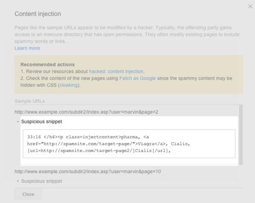 Google Webmestereszközök - Biztonsági problémák
