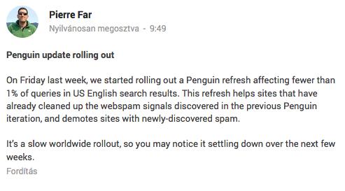 Pierre Far: Google Pingvin 3 - újabb algoritmusfrissítés